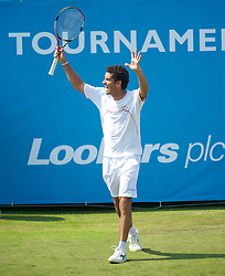LIVERPOOL, ENGLAND - Wednesday, June 16, 2010: Andre Sa (BRA) during the Men's Singles on day one of the Liverpool International Tennis Tournament at Calderstones Park. (Pic by David Rawcliffe/Propaganda)