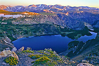 Looking down into Rock Creek Canyon and Twin Lakes from along the Beartooth Highway at sunrise.  Beartooth Mountains, Wyoming.