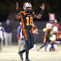 Thomas Wells | BUY at PHOTOS.DJOURNAL.COM<br /> Calhoun City's Tyrese Quinn signals touchdown as his Wildcats jumped up 33-7 in the first half and went on to beat Baldwyn Friday.