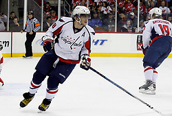December 7, 2007; Newark, NJ, USA;  Washington Capitals left wing Alexander Ovechkin (8) skates during the second period at the Prudential Center in Newark, NJ.