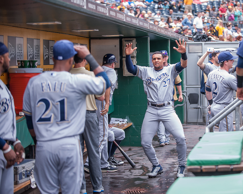 PITTSBURGH, PA - JUNE 08: Carlos Gomez #27  of the Milwaukee Brewers shows emotion in the dugout before the game against the Pittsburgh Pirates  at PNC Park on June 8, 2014 in Pittsburgh, Pennsylvania. (Photo by Rob Tringali) *** Local Caption *** Carlos Gomez