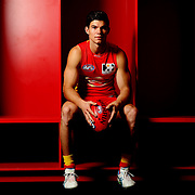GOLD COAST, AUSTRALIA - JULY 18:  Jaeger O'Meara of the Gold Coast Suns poses for a portrait at Metricon Stadium on July 18, 2013 in Gold Coast, Australia.  (Photo by Chris Hyde/Getty Images) *** Local Caption *** Jaeger O'Meara