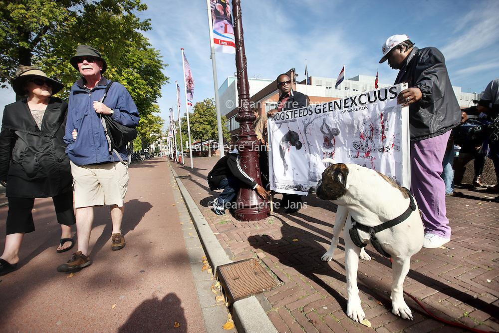 Nederland, Amsterdam , 28 augustus 2014.<br /> Anti Zwarte Piet demonstratie bij de Stopera.<br /> Anti Black Pete demonstration near the City Hall.