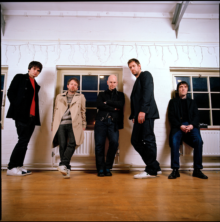 UK. Oxford based band Radiohead photographed in the attic of the Oxford Playhouse theatre..From left to right: Jonny Greenwood, Thom Yorke, Phil Selway, Ed O'Brian and Colin Greenwood.