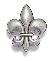 Silver fleur de lis pin on white background