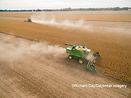 63801-09002 Soybean Harvest, 2 John Deere combines harvesting soybeans - aerial - Marion Co. IL