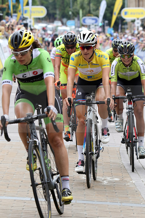 © Licenced to London 19/06/2016<br /> Kettering, Northamptonshire.UK. Lizzy Armitstead crosses the line to win the Aviva Women's Tour. Photo credit Steven Prouse/LNP
