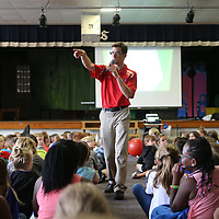 Bob Swanson, ICC Astronomy Instructor, talks with Saltillo Elementary students Wednesday morning about the upcoming eclipse as schools across the region prepare for next week's eclipse activites.