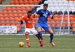 Ryan Tafazolli of Peterborough United closes down Nathan Delfouneso of Blackpool - Mandatory by-line: Joe Dent/JMP - 18/02/2018 - FOOTBALL - Bloomfield Road - Blackpool, England - Blackpool v Peterborough United - Sky Bet League One