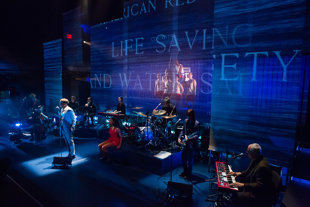 28 November 2018 - Brooklyn, NY. The dress rehearsal of The Good Swimmer, with music by Heidi Rodewald, Lyrics by Donna Di Novelli, and directed by Kevin Newbury. Part of the Brooklyn Academy of Music's Next Wave Festival.