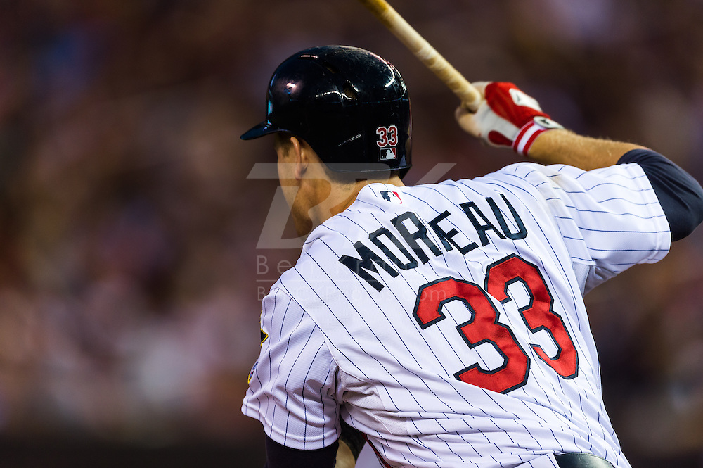 Justin Morneau (33) of the Minnesota Twins bats during a game against the Tampa Bay Rays on August 10, 2012 at Target Field in Minneapolis, Minnesota.  The Rays defeated the Twins 12 to 6.  Photo: Ben Krause