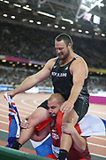 Thomas Walsh, New Zealand, celebrates, with Stipe Zunic after shot put final gold during the IAAF World Championships at the London Stadium, London, England on 6 August 2017. Photo by Myriam Cawston.