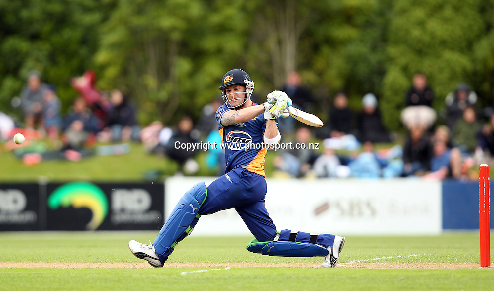 Brendon McCullum plays through mid-wicket for the Volts.<br /> Twenty20 Cricket - HRV Cup, Otago Volts v Central Stags, 18 December 2011, University Oval, Dunedin, New Zealand.<br /> Photo: Rob Jefferies/PHOTOSPORT