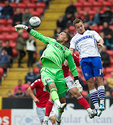 LONDON, ENGLAND - Saturday, October 8, 2011: Tranmere Rovers'  Adam McGurk goes close as Charlton Athletic's Ben Hamer punches the ball away during the Football League One match at The Valley. (Pic by Gareth Davies/Propaganda)