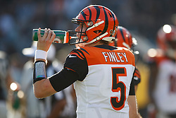 OAKLAND, CA - NOVEMBER 17: Quarterback Ryan Finley #5 of the Cincinnati Bengals drinks from a Gatorade bottle against the Oakland Raiders during the second quarter at RingCentral Coliseum on November 17, 2019 in Oakland, California. The Oakland Raiders defeated the Cincinnati Bengals 17-10. (Photo by Jason O. Watson/Getty Images) *** Local Caption *** Ryan Finley