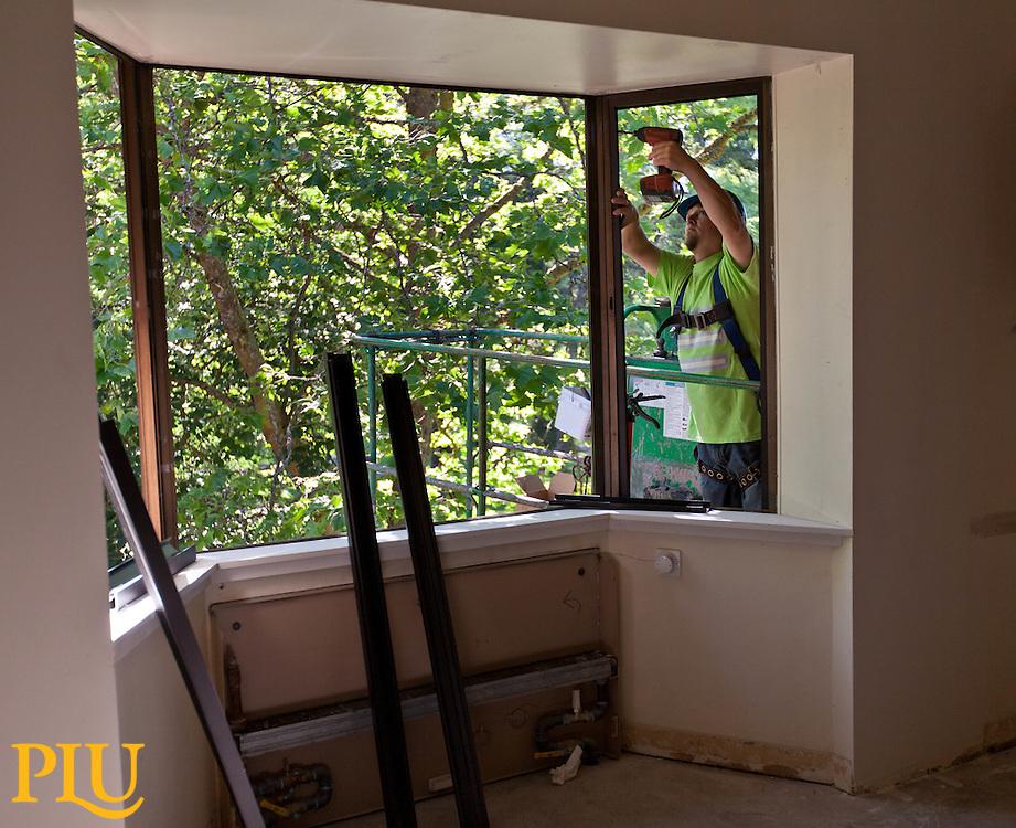 Work on Stuen Hall at PLU on Tuesday, July 8, 2014. (Photo/John Froschauer)