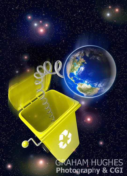 Jack in the box wheelie bin floating in space with planet earth shooting out on spring.