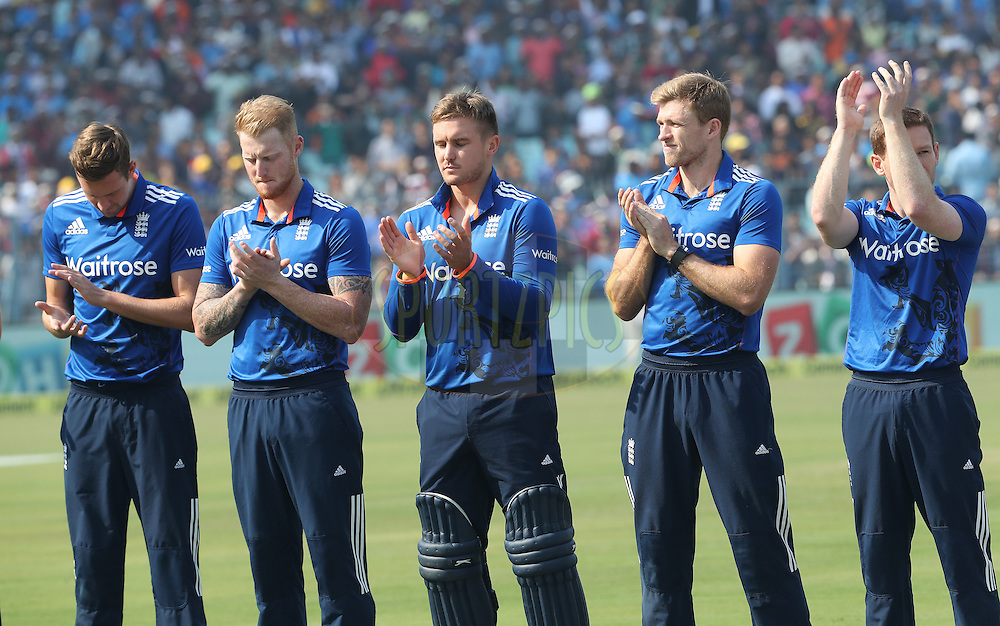 England players applaud after the national anthem during the third One Day International (ODI) between India and England  held at Eden Gardens in Kolkata on the 22nd January 2017<br /> <br /> Photo by: Ron Gaunt/ BCCI/ SPORTZPICS
