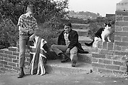 Nev, Alvin and Smudge with Union Jack in Hawthorne Rd, High Wycombe, UK, 1980s.