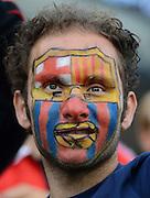 FUSSBALL  INTERNATIONAL Testspiel 2012/2013  08.08.2012 Manchester United  - FC Barcelona  Barca Fan mit bemaltem Gesicht