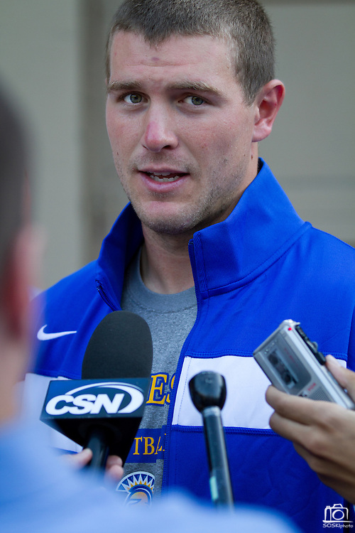 San Jose State Spartans' Matt Faulkner (7) addresses the press after their 57-3 loss to Stanford (7) in Palo Alto, Calif., Sept. 3, 2011.  (Spartan Daily/Stan Olszewski)