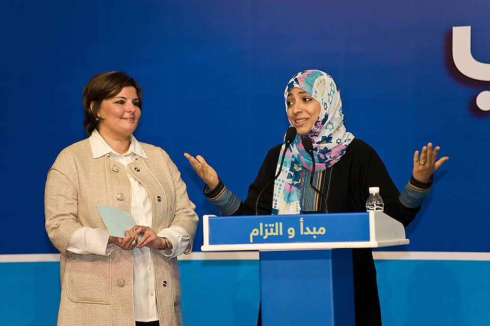 Tawakul Karman, a Yemeni activist who won the Noble peace prize,  addresses an election rally in Kuwait City held by Dr. Aseel Al-Awadhi (L), one of 24 women running in Kuwait's Feb. 2, 2012 parliamentary elections. Karman made a surprise appearance at the opening of the election HQ of Al-Awadhi who is among a total of 340 candidates taking part in the polls for a new 50-seat National Assembly (parliament).
