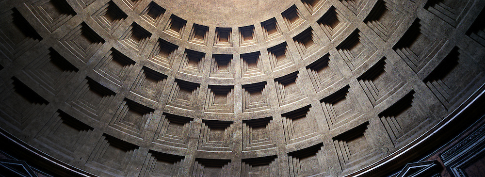 The ceiling of The Pantheon, Rome Italy, was originally built as a temple to all the gods of Ancient Rome, and rebuilt circa 125 CE during Hadrian's reign.  It is the best preserved of all Roman buildings, . Rome, Italy. 23rd July 2011. Photo Tim Clayton