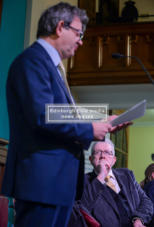 Pictured: Brexit Secretary Mike Russell listens intently as economist Sir Anton Muscatel speaks at the rally.<br /> <br /> Supporters for a People's Vote on Brexit held a Rally for Europe in Edinburgh on Saturday. Prominent speakers included Mike Russell, Labour MEP Catherine Stihler, economist Anton Muscatelli.<br /> <br /> © Dave Johnston / EEm