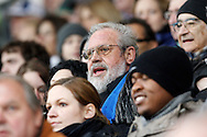 Former FC Luzern player Paul WOLFISBERG (C), who played his first match 60 years ago, takes his seat during the AXPO Super League (National League A) soccer match between FC Luzern (FCL) and FC Basel (FCB) at the Gersag stadium in Emmenbruecke, Switzerland, Sunday, February 27, 2011. (Photo by Patrick B. Kraemer / MAGICPBK)