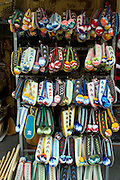 Greece, Epirus, Metsovo, Souvenir shop woollen slippers