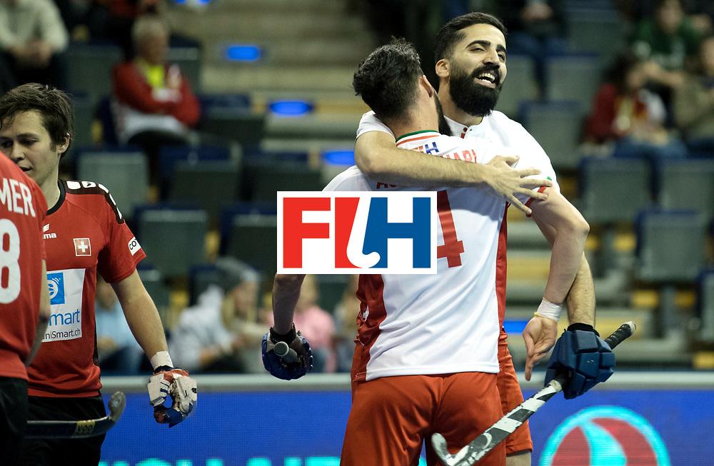 BERLIN - Indoor Hockey World Cup<br /> Men: Iran - Switzerland<br /> foto: Iran scored.<br /> COPYRIGHT WILLEM VERNES