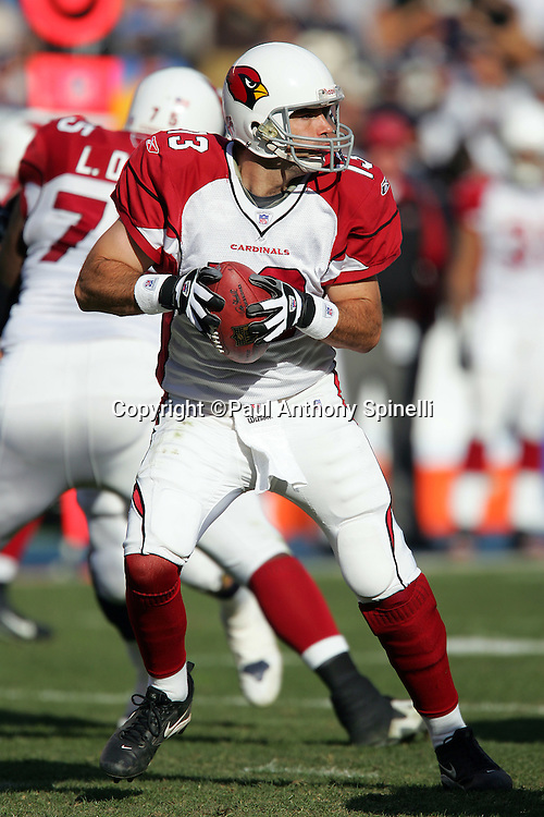 SAN DIEGO - DECEMBER 31:  Quarterback Kurt Warner #13 of the Arizona Cardinals drops back to pass in relief of injured starting QB Matt Leinart against the San Diego Chargers at Qualcomm Stadium on December 31, 2006 in San Diego, California. The Chargers defeated the Cardinals 27-20 to secure the number one seed in the AFC playoffs. ©Paul Anthony Spinelli *** Local Caption *** Kurt Warner