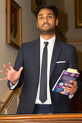 Her Royal Highness Camilla the Duchess of Cornwall hosts a reception at Clarence House to mark the tenth anniversary of First story, an initiative to encourage writing in especially among those from deprived backgrounds in schools across the country PICTURED: Jay Bhadricha, a former student of First Story and now employee addresses the gathering. London, July 10 2018.
