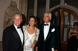 Left to right, LORD EVANS, CAROLINE MICHEL and LORD BAKER OF DORKING at a dinner to announce the 2005 Man Booker Prize held at The Guilhall, City of London on 10th October 2005.<br />