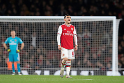 LONDON, ENGLAND - Thursday, December 5, 2019: Arsenal's Lucas Torreira looks dejected as Brighton & Hove Albion score a winning second goal during the FA Premier League match between Arsenal FC and Brighton & Hove Albion FC at the Emirates Stadium. Arsenal lost 2-1. (Pic by Vegard Grott/Propaganda)