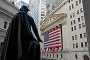UNITED STATES-NEW YORK-New York Stock exchange on Wall Street. PHOTO: GERRIT DE HEUS.VERENIGDE STATEN-NEW YORK. New York Stock exchange op Wall Street met het standbeeld van George Washington ervoor. PHOTO COPYRIGHT GERRIT DE HEUS