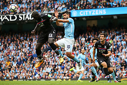 Mamadou Sakho of Crystal Palace clears the ball under pressure from Sergio Aguero of Manchester City - Mandatory by-line: Matt McNulty/JMP - 23/09/2017 - FOOTBALL - Etihad Stadium - Manchester, England - Manchester City v Crystal Palace - Premier League