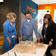 04.04.2017         <br /> Digitisation and Archives professionals from the Gluksman Library University of Limerick presented a talk on Attics to Archives at the Bank of Ireland Workbench for the Limerick Lifelong Learning Festival.<br /> Pictured at the event were, Evelyn McAuley and Sinead Keogh, Glucksman Library with Randel Hodkinson who brought a collection of designs from J Hodkinson & Sons Ecclesiastical Decorators dating back as far as 1852. Picture: Alan Place
