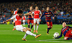 Mohamed Elneny of Arsenal fires a shot at goal  - Mandatory byline: Matt McNulty/JMP - 16/03/2016 - FOOTBALL - Nou Camp - Barcelona,  - FC Barcelona v Arsenal - Champions League - Round of 16