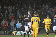 Peter MacDonald celebrates with Martin Boyle after scoring the opener for Dundee - Dundee v Dumbarton, SPFL Championship at Dens Park<br /> <br />  - &copy; David Young - www.davidyoungphoto.co.uk - email: davidyoungphoto@gmail.com