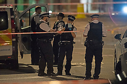 ©Licensed to London News Pictures 16/06/2020<br /> Croydon, UK. Police on scene. A man in his twenties is fight for his life in hospital tonight after being stabbed in Croydon, South East London. Police and paramedics were called at 7.45pm. Police are on scene and a cordon is in place. Photo credit: Grant Falvey/LNP