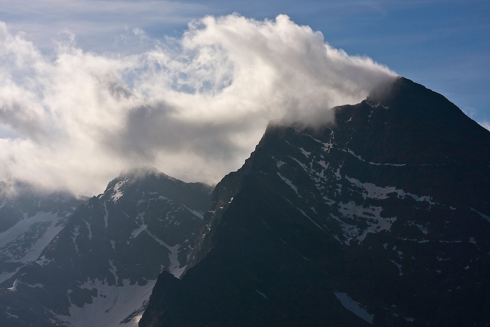 Mount Krivàn (2495 m asl), national symbol of Slovakia. Summit with clouds in strong wind. High Tatras, Slovakia. June 2009. Mission: Ticha