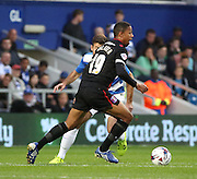 Angelo Balanta with an early probe into the QPR half during the Capital One Cup match between Queens Park Rangers and Carlisle United at the Loftus Road Stadium, London, England on 25 August 2015. Photo by Matthew Redman.