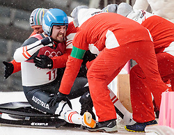 11.02.2018, Olympic Sliding Centre, Pyeongchang, KOR, PyeongChang 2018, Rodeln, Herren, 4. Lauf, im Bild v.l. David Gleirscher (AUT, 1. Platz und Goldmedaillengewinner) mit seinen Teamkollegen // f.l. gold medalist and Olympic champion David Gleirscher of Austria an his Team during the Men's Luge Singles Run 4 competition at the Olympic Sliding Centre in Pyeongchang, South Korea on 2018/02/11. EXPA Pictures © 2018, PhotoCredit: EXPA/ Johann Groder