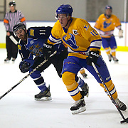 Southern Stampede player Simon Glass in action during the Southern Stampede V West Auckland Admirals New Zealand Ice Hockey League match at the Queenstown Ice Arena, Queenstown, South Island, New Zealand, 4th June 2011