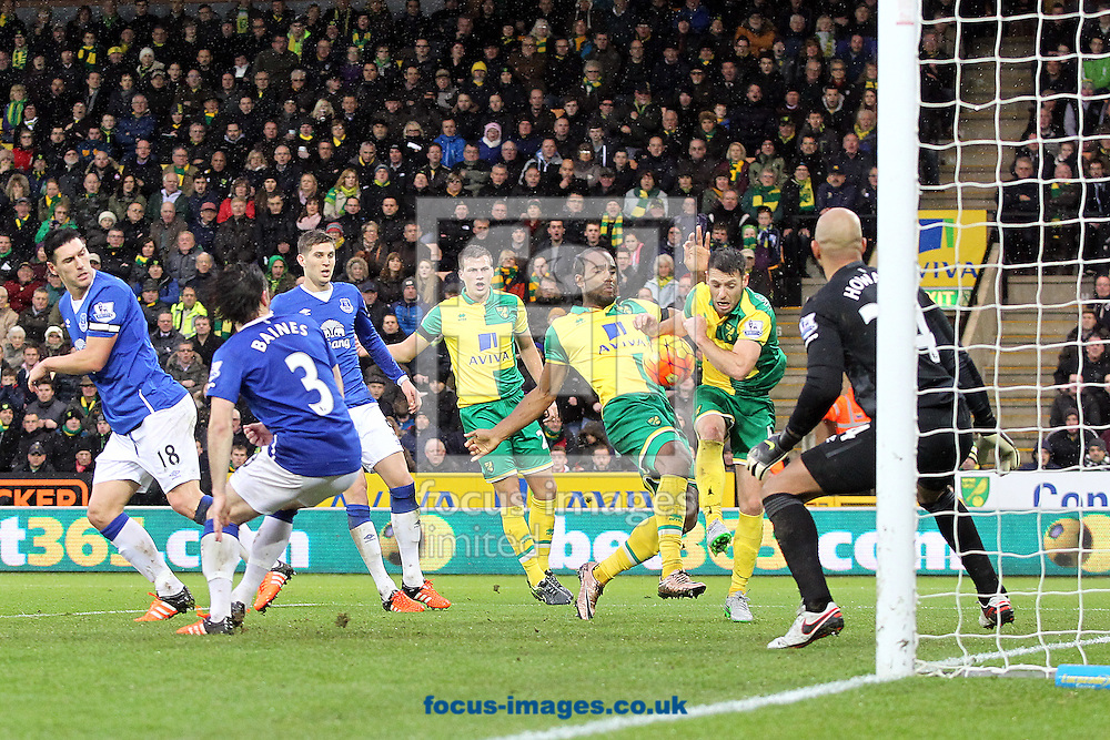 Cameron Jerome of Norwich and Wes Hoolahan of Norwich in a goalmouth scramble during the Barclays Premier League match at Carrow Road, Norwich<br /> Picture by Paul Chesterton/Focus Images Ltd +44 7904 640267<br /> 12/12/2015