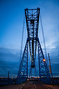 The cable car moves across the top of the Tees Transporter Bridge, Middlesbrough, North Yorkshire, United Kingdom. The Transporter Bridge is the longest remaining transporter in the world at 851 feet.  (photo by Andrew Aitchison / In pictures via Getty Images)