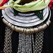 A Dao ethnic minority woman's neckware, in Ha Giang, Vietnam's northernmost province.