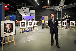 Photographer Mike Stone with various of his portraits of Jewish RAF veterans at Hidden Heroes, an event celebrating the part played by Jewish volunteers in the Royal Air Force during World War Two, at the RAF Museum in London. The event is part of celebrations to mark the centenary of the RAF. Photo date: Thursday, November 15, 2018. Photo credit should read: Richard Gray/EMPICS