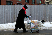 February 12, 2011 - A women, with grocery list in hand, walks between vendor stands at the Haymarket outdoor produce market in Boston, MA. Photo by Lathan Goumas.
